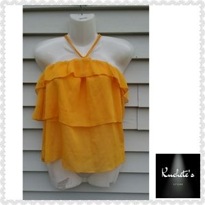 H&M Yellow Flounce Halter Off Shoulder Ruffle Top